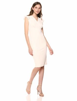 Calvin Klein Women's V Neck Puff Sleeve Sheath with Asymmetrical Collar Dress