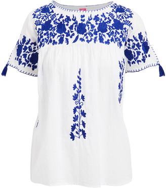 Raj Imports Women's Blouses WHITE - White & Blue Floral-Applique Dorrie Yoke Top - Women