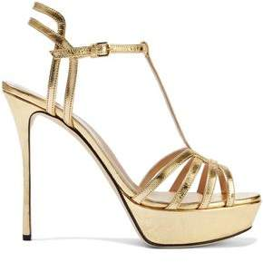 Sergio Rossi Ines Cutout Metallic Crinkled-leather Platform Sandals