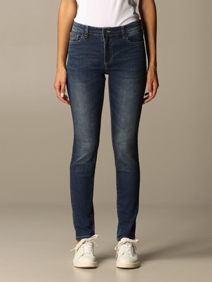 Armani Exchange Used Stretch Denim With High Waist Skinny Leg