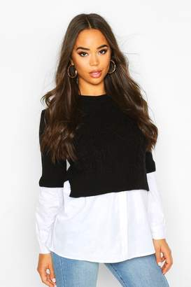 boohoo Cable Knit 2 In 1 Top