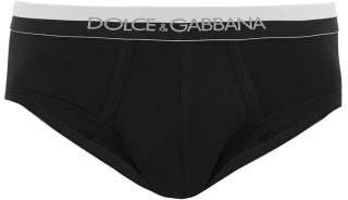 Dolce & Gabbana Brando Logo Jacquard Stretch Cotton Briefs - Mens - Black
