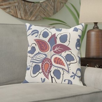 "Bungalow Rose Vinoy Paisley Pop Floral Outdoor Throw Pillow Size: 18"" H x 18"" W, Color: Blue"