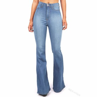 Canifon Trousers Womens High Waist Destoryed Flare Jeans Pocket Wide Leg Skinny Button Trousers Light Blue
