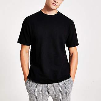 River Island Black textured short sleeve slim fit T-shirt