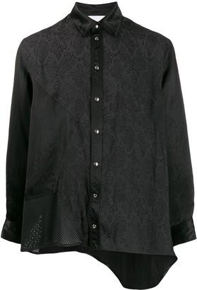 Koché Snakeskin-Print Asymmetric Shirt