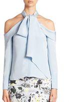 Erdem Aila Cold-Shoulder Silk Tie-Neck Blouse