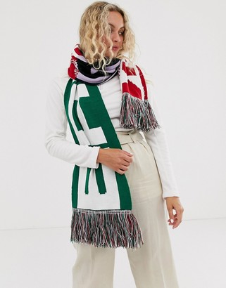 Asos Design DESIGN logo print knitted scarf with tassels-Multi