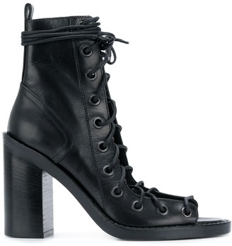 Ann Demeulemeester Open Lace-Up Ankle Boots