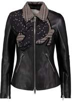 3.1 Phillip Lim Printed Silk-Satin Plaid Wool And Terry-Trimmed Leather Jacket
