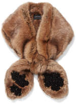 Simone Rocha Embellished Faux Fur Scarf - Brown
