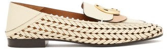 Chloé The C Logo Collapsible-heel Leather Loafers - Womens - Cream