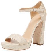 Pour La Victoire Yvette Embossed Leather Platform Sandal