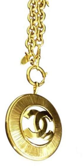 Chanel Coco Mark Gold Tone Metal Chain Pendant Necklace