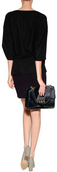 Sonia Rykiel Leather/Haircalf Flap Shoulder Bag in Marine Fonce