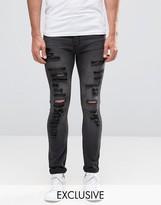 Cheap Monday Tight Slash Jeans Stretch Base Gray Extreme Rips