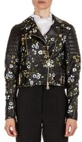 Erdem Frazey Floral-Embroidered Leather Biker Jacket, Black/Multi