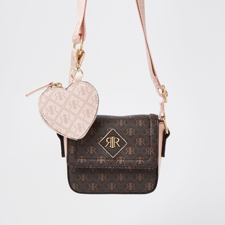 River Island Girls Brown RIR print heart cross body bag