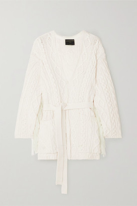 Mother of Pearl + Net Sustain Willow Fringed Cable-knit Organic Cotton-blend Cardigan - Ivory