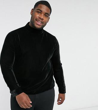 ASOS DESIGN Plus regular fit velvet shirt with pussybow neck tie in black