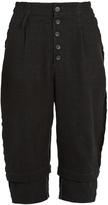 BY WALID Michael dropped-crotch cropped linen trousers
