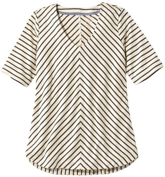L.L. Bean Women's Pima Cotton Tee, V-Neck Tunic Stripe