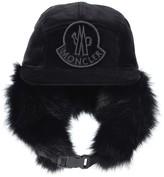 Moncler Fur-lined cotton trapper hat