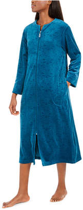 Miss Elaine Women Brocade Micro Fleece Long Zipper Robe