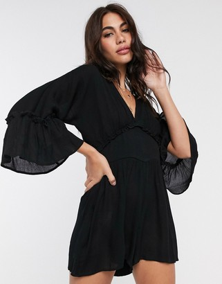 ASOS DESIGN swing playsuit with frill sleeve in crinkle in black