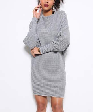 Misell Women's Pullover Sweaters GRAY - Gray Dolman Textured-Stripe Wool-Blend Sweater Dress - Women