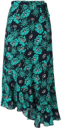 Markus Lupfer floral asymmetric midi skirt