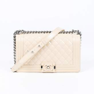 Chanel Boy Ecru Patent leather Handbags