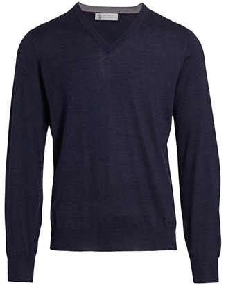 Brunello Cucinelli V-Neck Wool & Cashmere Sweater
