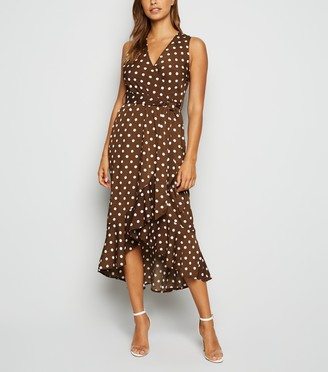New Look AX Paris Polka Dot Satin Midi Dress