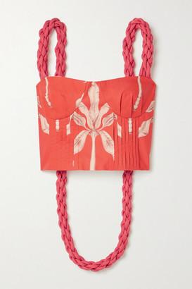 Johanna Ortiz Palmeras Cropped Printed Cotton Top - Tomato red