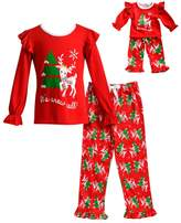"Dollie & Me Girls 4-14 It's Snow Cold"" Reindeer Ruffled Top & Tree Bottoms Pajama Set"