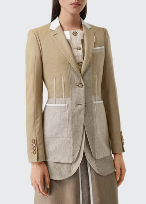 Burberry Colorblocked Wool-Cashmere Tailored Blazer
