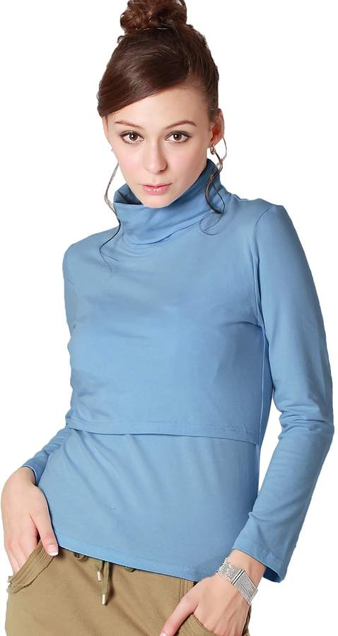 Sweet Mommy Maternity and Nursing Long Sleeve Nursing Turtleneck Tee L