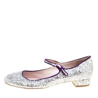 Miu Miu Silver Glitter Ballet flats
