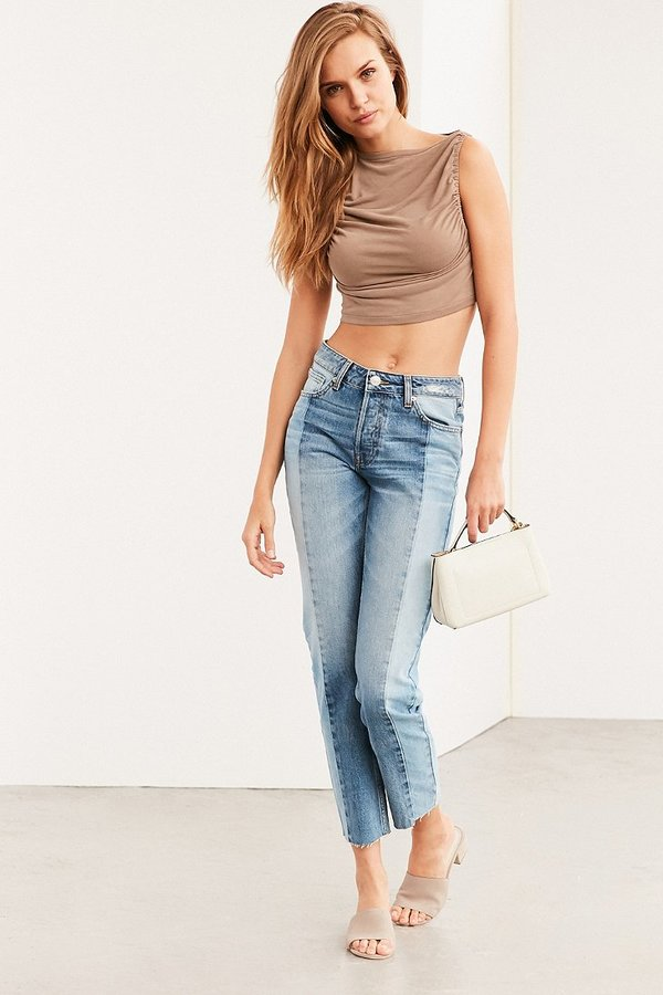BDG Ruched Sides Cropped Tank Top