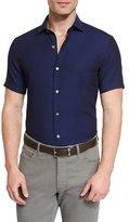 Ermenegildo Zegna Solid Short-Sleeve Sport Shirt, Navy