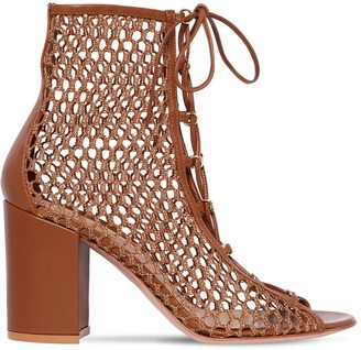 Gianvito Rossi 85mm Mesh & Leather Ankle Boots