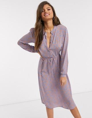 Vila midi dress in blue paisley print