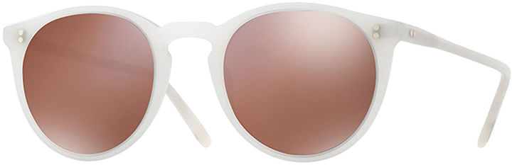 Oliver Peoples O'Malley NYC Peaked Round Mirrored Sunglasses