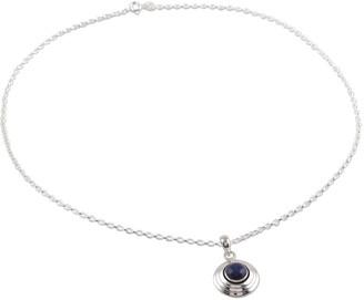 Novica Handmade Lapis Lazuli Pendant Necklace, 'Midnight Disc'