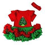WensLTD Baby Girls Lace Christmas Romper Princess Dress + Hairband 1Set (18M, Red&Green)
