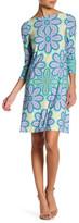 London Times 3/4 Length Sleeve Printed Shift Dress (Petite)