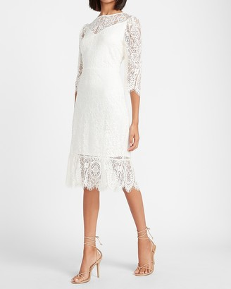 Express Lace Ruffle Hem Sheath Dress