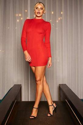 U.May U.MAY Alicia high neck long sleeve bandage mini dress