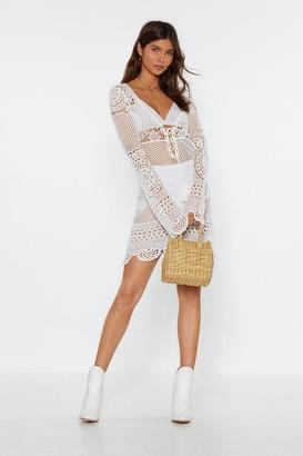 Nasty Gal Womens Crochet It Forward Lace-Up Mini Dress - White - S, White